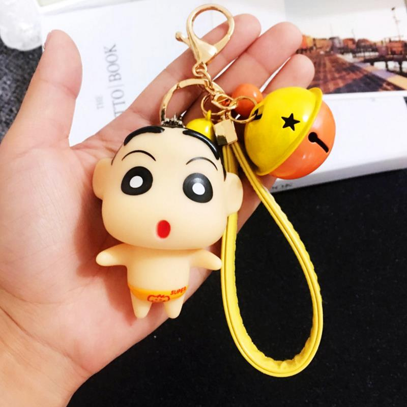 Us 2 34 29 Off 1pc New Kawaii Crayon Shinchan Bell Keychain Cartoon Keychain Car Key Ring Pendant Action Figures Toy Gift In Action Toy Figures