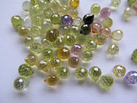 64pcs 5x6mm cubic zirconia DIY bead apricot drop onion faceted lite green pink purle white assortment jewelry beads