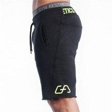 กางเกงขาสั้นผู้ชายผู้ชายSlim FitฟิตเนสเพาะกายโรงยิมJoggerยี่ห้อทนทานSweatpantsฟิตเนสออกกำลังกายแฟชั่นผ้าฝ้ายสั้นกางเกง