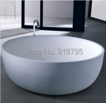 1350x490mm Solid Surface Stone CUPC Approval Bathtub Round Freestanding Corian Matt Or Glossy Finishing Tub RS6521