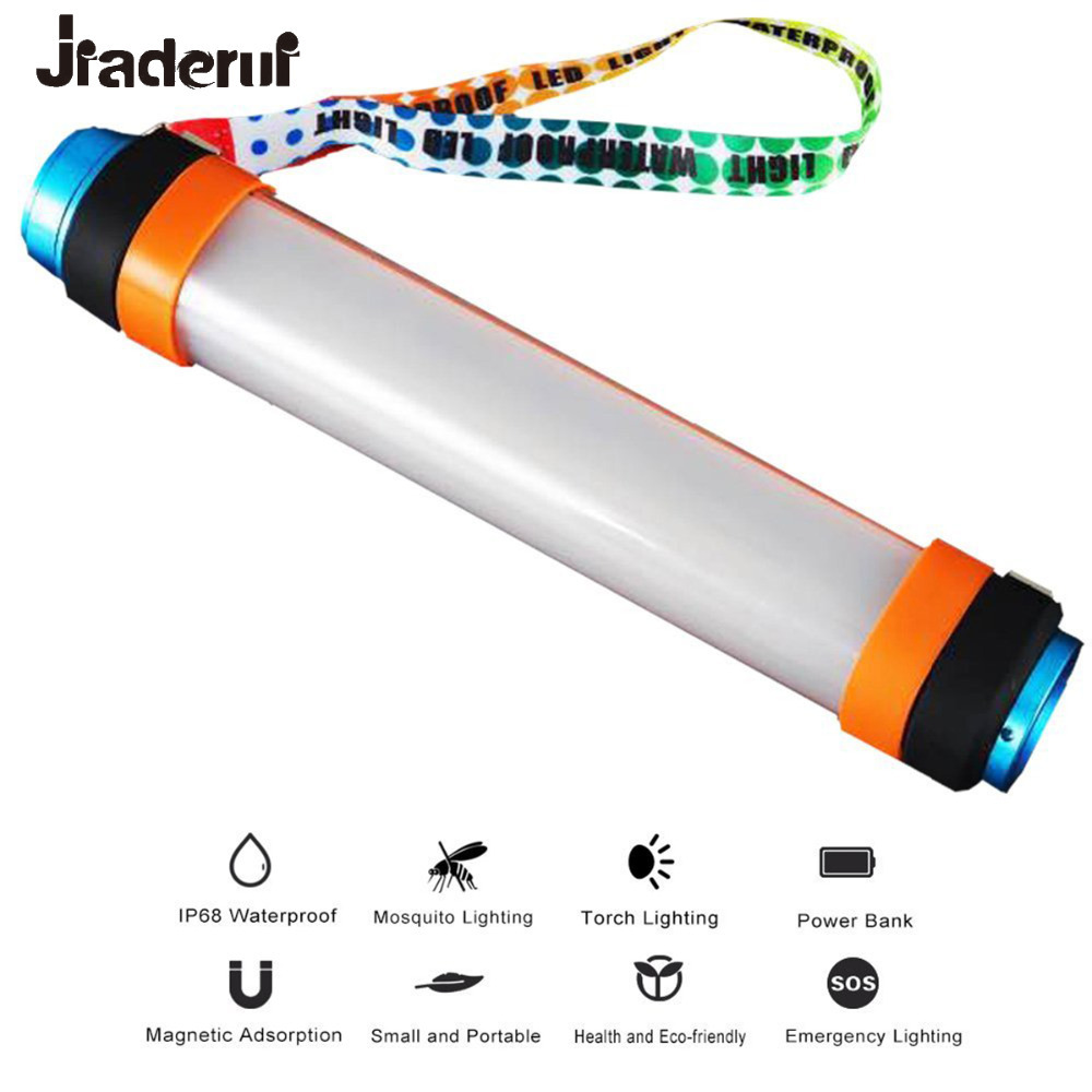 LED Camping Lantern Portable Hanging Magnetic Power Bank Waterproof Outdoor Tent Light USB Recharge 6 Modes Flashlight Hiking