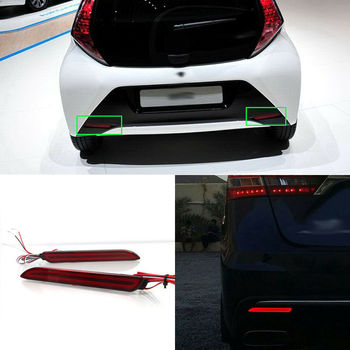 LED Rear Bumper Reflector Fog Brake Turn Indicator Lights For Toyota AYGO 2013-2015