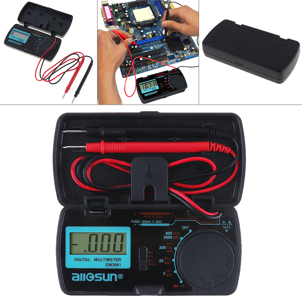 EM3081 Mini Portable LCD Display Digital Multimeter Test Pen for Measuring DC AC Voltage& DC Current/Resistance/Continuity/Diode automotive multimeter test vehicle car battery dc ac voltage frequency resistance diode pen style tester