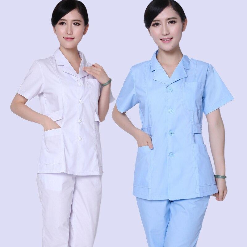 Maleand fêmea médicos tomar uma pequena divisão divisão terno curto UTI casaco branco roupas enfermeira dental farmácia macacão verão dois conjunto