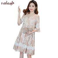 Fdfklak Elegant Dresses for Pregnant Women Slim Lace Pregnancy Dress Spring Summer Maternity Clothes Printing Party Dress