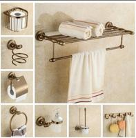 Aluminum Bathroom Accessories Set Antique Towel Bar Glass Shelf Toilet Brush Holder Papar Holder Wall Mounted