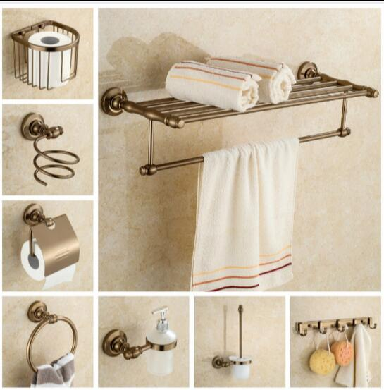 Aluminum Bathroom Accessories Set Antique Towel Bar Gl Shelf Toilet Brush Holder Papar Wall Mounted Bath Hardware In Bars From Home
