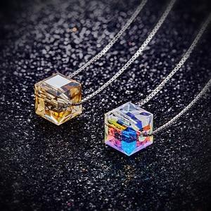 Image 3 - Cdyle 925 collar de plata esterlina con cadena de 8mm AB Color cristal cubo colgante collar joyería de moda accesorios de mujer
