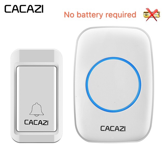 CACAZI Wireless Doorbell Self-powered No Batteries Waterproof Button 120M Remote LED Light Home Cordless Bell EU Plug 38 Chimes