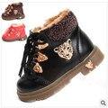 Nuevos 2016 botas de nieve botas zapatos de bebé de los niños zapatos de invierno para niñas niños cabeza de leopardo de Metal tendón engrosado 1-231