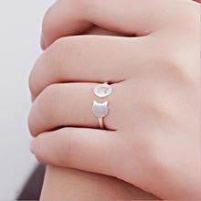 Асимметричное Открытое кольцо в виде кошки из серебра 925 пробы