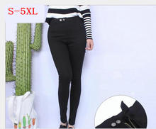 Plus Dimension New Style Girls Clothes Pants Stretch Leggings Pencil skinny Black Attractive Girls feminine Trousers S- 4XL 5XL Y010