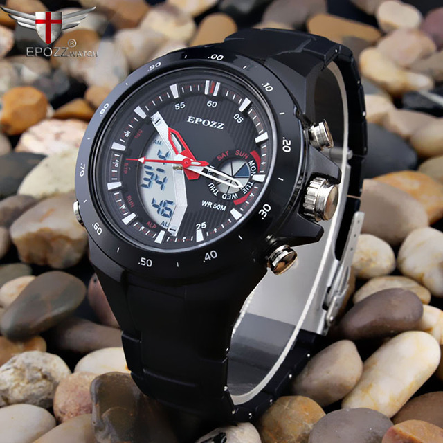 Fashion Brazil black watch men Dual Display 50m Waterproof Men's Wristwatches sp