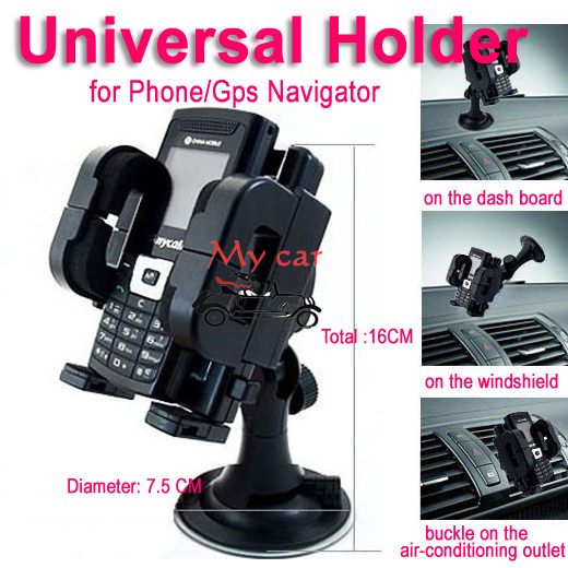 universal phone holder+Micro USB + car charger for Iphones/4s/5 for Samsung/for HTC/GPS Navigator stick on windshield/air outlet