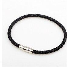 Boho Hippie Punk Black White Dark Brown Macrame Leather Silver Color Magnet Lock Closure Stackable Bracelets for Man