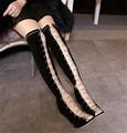 2016 новые зимние высоких каблуках Римского стиля цепи полые большой ярдов женский длинноствольного сапоги сапоги zg938-11 SUB1457