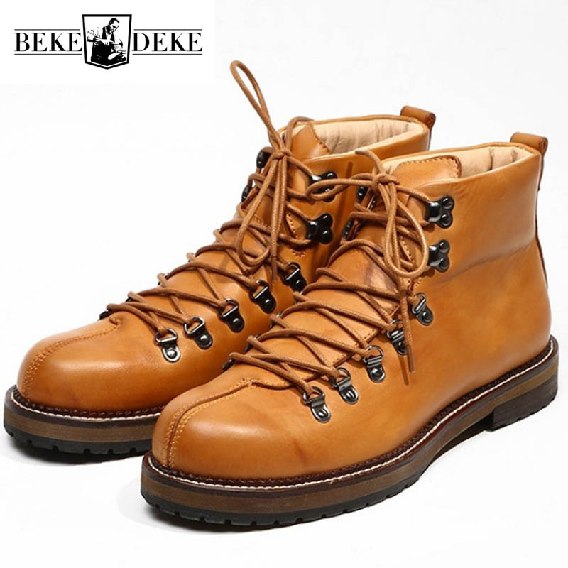 Fashion Casual Retro Man Genuine Leather Boots Black Orange Lace Up Safety Boots Men Autumn High Quality Round Toe Dress Shoes