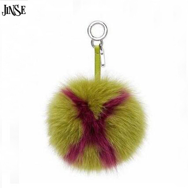 JINSE 15cm Big Fluffy Initial Pom Pom Keychains Handmade Real Fox Fur Ball Keychains Bag Charm Monster Bag Bug Capital Letter