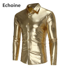 4e6ca835a4d (Ship from US) Autumn Men Gold Coated Metallic Paisley Shirt Men Night Club  Wear Shirt Slim Fit Chemise Homme Casual Button Down Mens Shirts