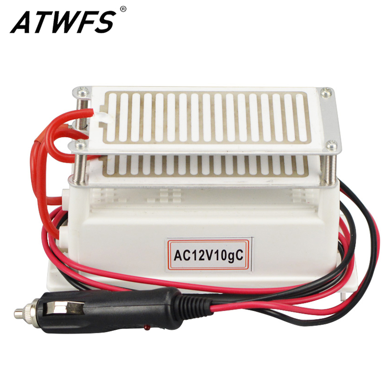 ATWFS Newest 10g 12v Car Portable Ceramic Ozone Generator Ozone <font><b>Air</b></font> Purifier Double Long Life Ozone Plate Deodorizer Machine