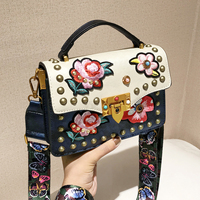 Womens Embroidery Floral Rose Butterfly Handbag Clutch Satchel Crossbody Should Bags Totes Pu Leather Luxury A161