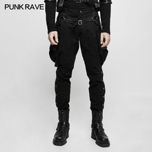 Punk Rave Mens Pants Black Steampunk Riding Pants Trousers Stage Performance Long Pants Hip Hop Pants