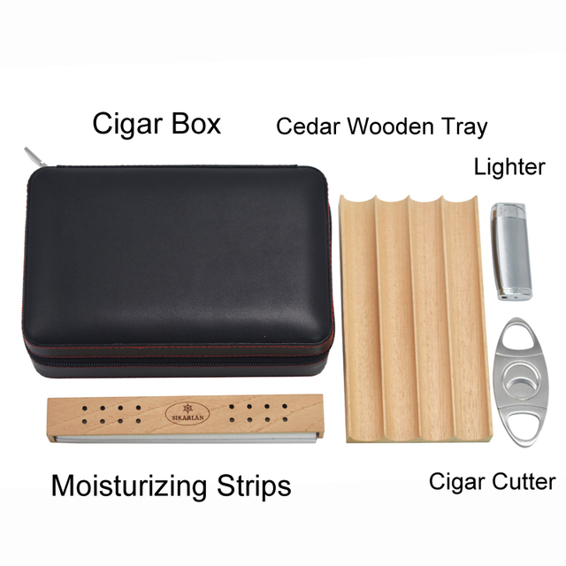 Genuine Leather Cedar Wood Tray Cigar Case Travel Carry 4 Tubes Mini Humidor Box