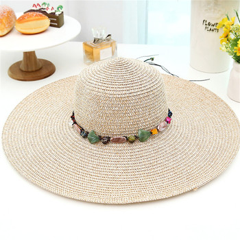 Women big brim sun hats foldable colorful stone hand made 1