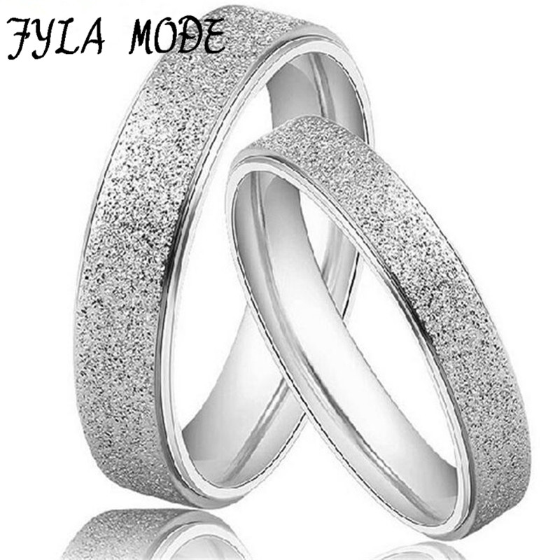 Fyla Mode 1PCS Fashion Jewelry High Quality 925 Sterling Silver Rings Dull Polish Couple Ring Wedding Ring Engagement Ring YH027