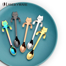 LANSKYWARE Small Mini Cute Cat Teaspoons 304 Stainless Steel Cartoon Cat Spoons Creative Ice Cream Dessert Coffee&Tea Spoon носки lb синий 34 37 размер