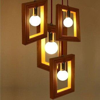 Vintage Edison Nordic Creative Photo Frame Wood  Droplight Contracted Bar Balcony Corridor Lighting Cafe Shop Ceiling Light