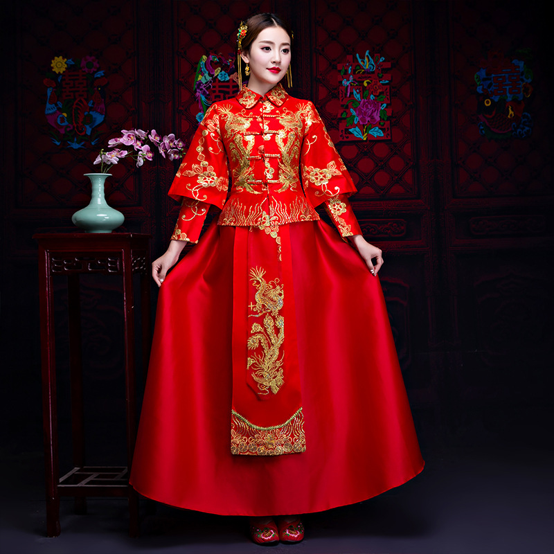Traditional Wedding Gown New Chinese Bride Woman Cheongsam Women Phoenix Embroidery Dress Modern Qipao Red Oriental Dresses все цены