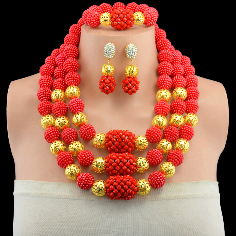 Red African Jewelry Sets Fantastic Dubai Gold Bridal Statement Necklace Set Crystal Beads Wedding Jewelry Free Shipping 10099 hot red statement choker necklace african wedding beads for women set dubai costume bridal lace jewelry set free shipping abf550