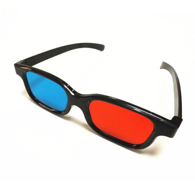 Black Frame Red Blue Cyan Anaglyph 3D Glasses 0.2mm For Movie Game DVD