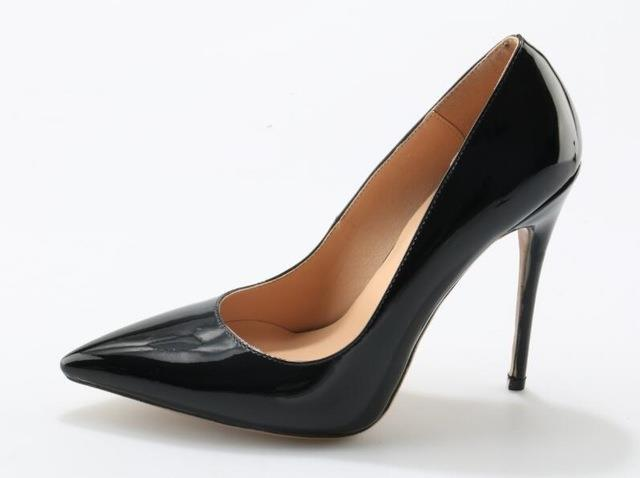 7339b461a7a0 Black Patent Leather Stiletto Heels Shoes Woman Pointed Toe 12cm High Heel  Pumps Slip-on Party Dress Office Shoes