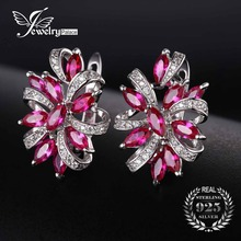 JewelryPalace Infinity Flower Women Earrings Unique Design 2.1ct  Red Created Ruby Clip On Earrings 925 Sterling Silver