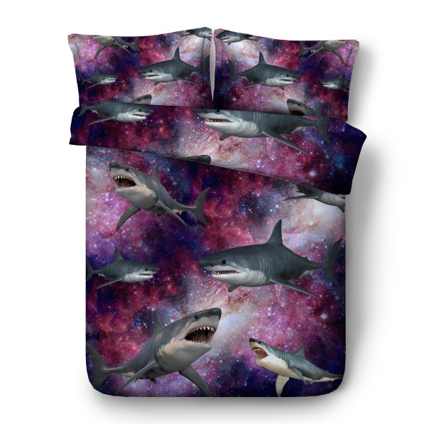 3D Shark Comforter Bedding sets with Stars quilt duvet cover bed in a bag sheets California King Queen size full twin doona 5PCS