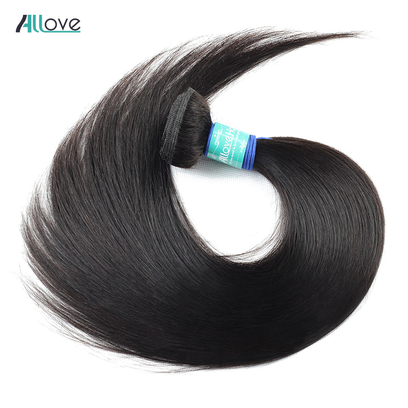Allove Brazilian Straight Hair Bundles 1/3/4Pcs Can Buy 8-28 Inch Human Hair Weave Bundles Natural Color Remy Hair Extensions