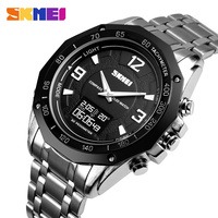 SKMEI 1464 Men Stainless steel Watch Brand Sport Watch hot sales Male dual movement wristwatches 30M Waterproof Men's Watches