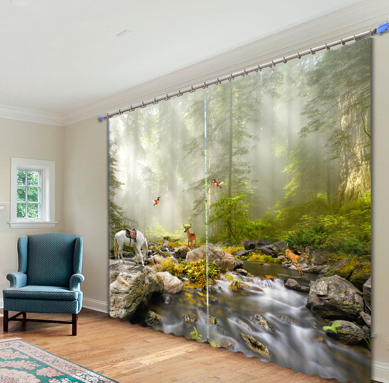 Modern Forest House: Luxury Modern Forest Landscape 3D Blackout Window Curtains