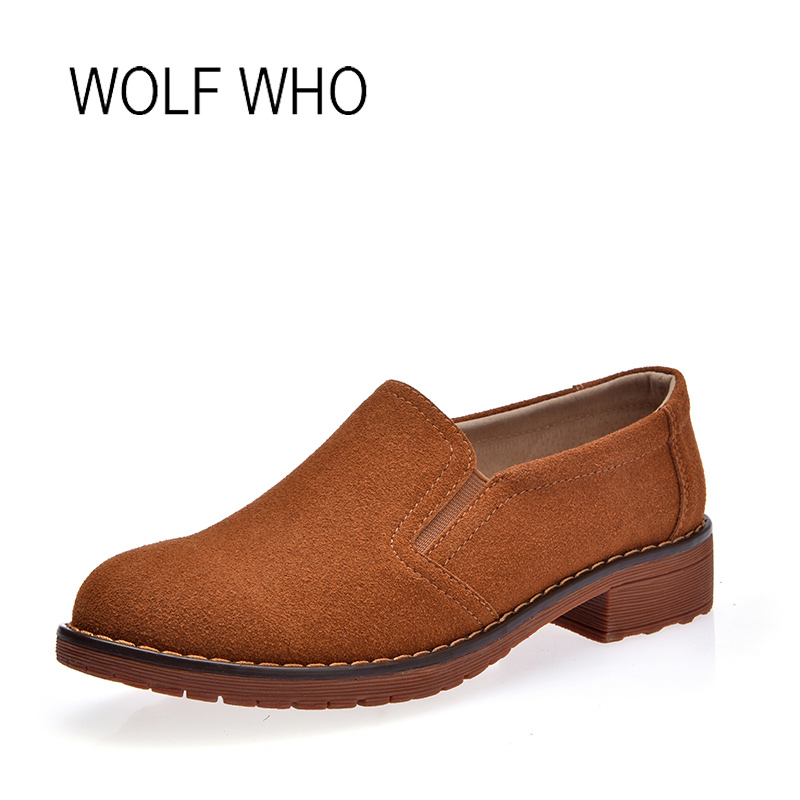 WOLF WHO Women Leather Shoes Female Suede Chelsea Ladies Slipony Slip on Shoes Women Loafers Tenis Femininos Casual h-170 wolf who women winter shoes fur wedge fashion sneakers women hidden heels basket femme tenis femininos casual h 152