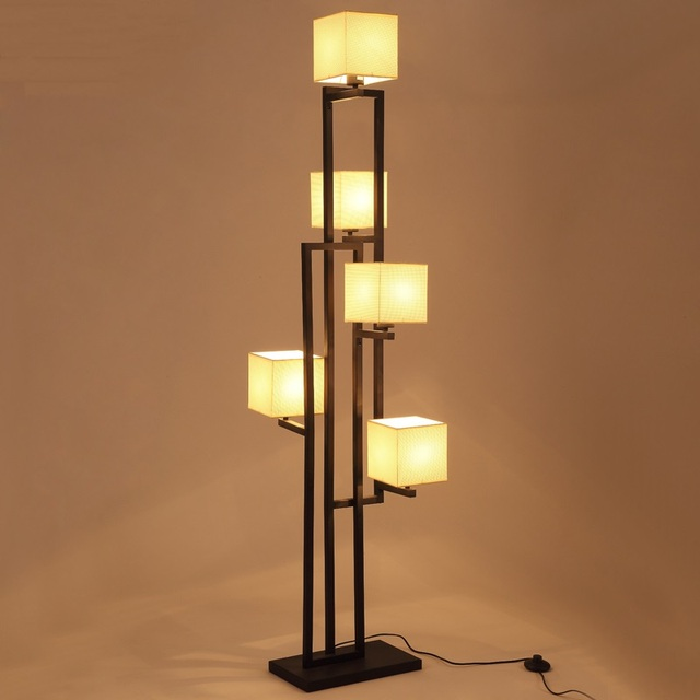 Style chinois Fer 5 têtes lampadaire salon étude chambre décoratif ...