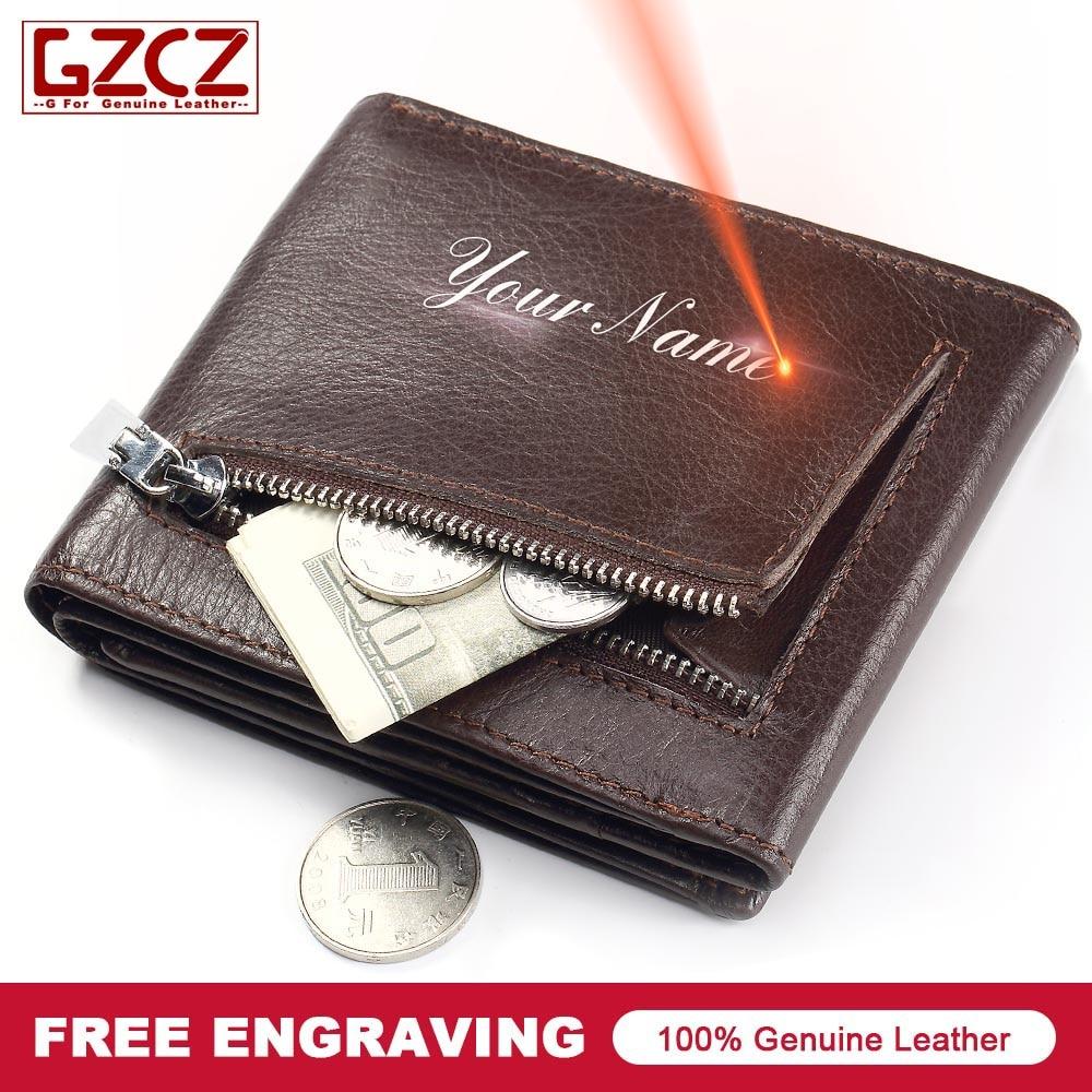 GZCZ Men Genuine Leather Wallet Zipper Mini Purse Card Holder Wallets 2018 carteira masculina