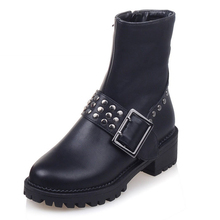 Size 34-43 Sexy Rivets Chunky Heels Motorcycle Boots Buckle Charm Women Boots Add Fur Platform Fall Winter Boots Shoes Woman
