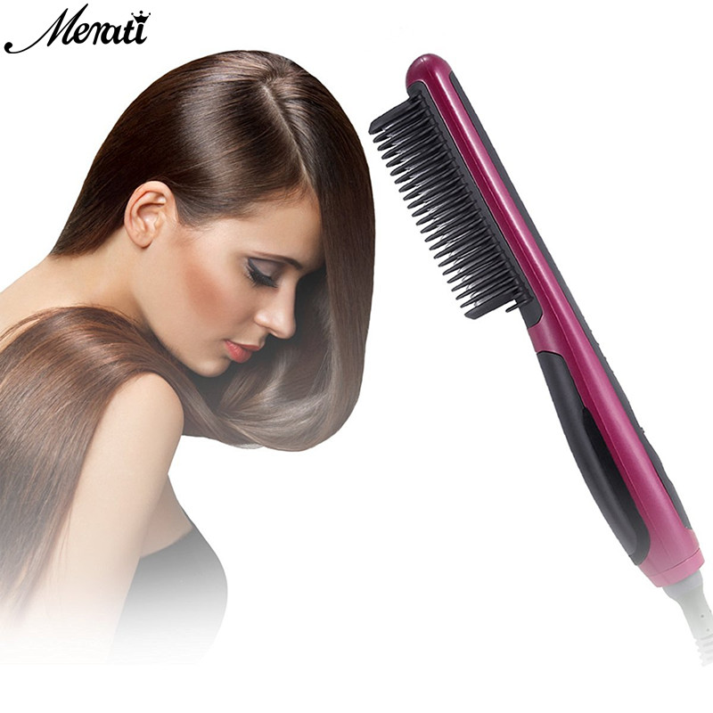 Pro LCD Heating Electric Ionic Fast Safe Hair Straightener Anti static Ceramic Straightening Brush Comb hair iron ceramic фен elchim 3900 healthy ionic red 03073 07