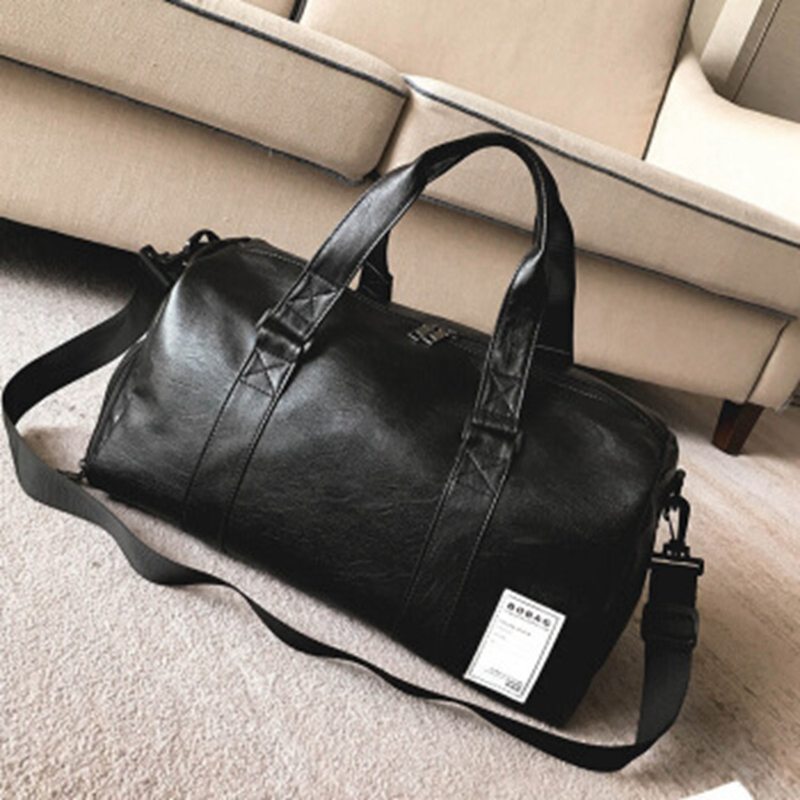 Gym Bag Leather Sports Bags Big MenTraining Tas for Shoes Lady Fitness Yoga Travel Luggage Shoulder Black Sac De Sport XA512WD (17)