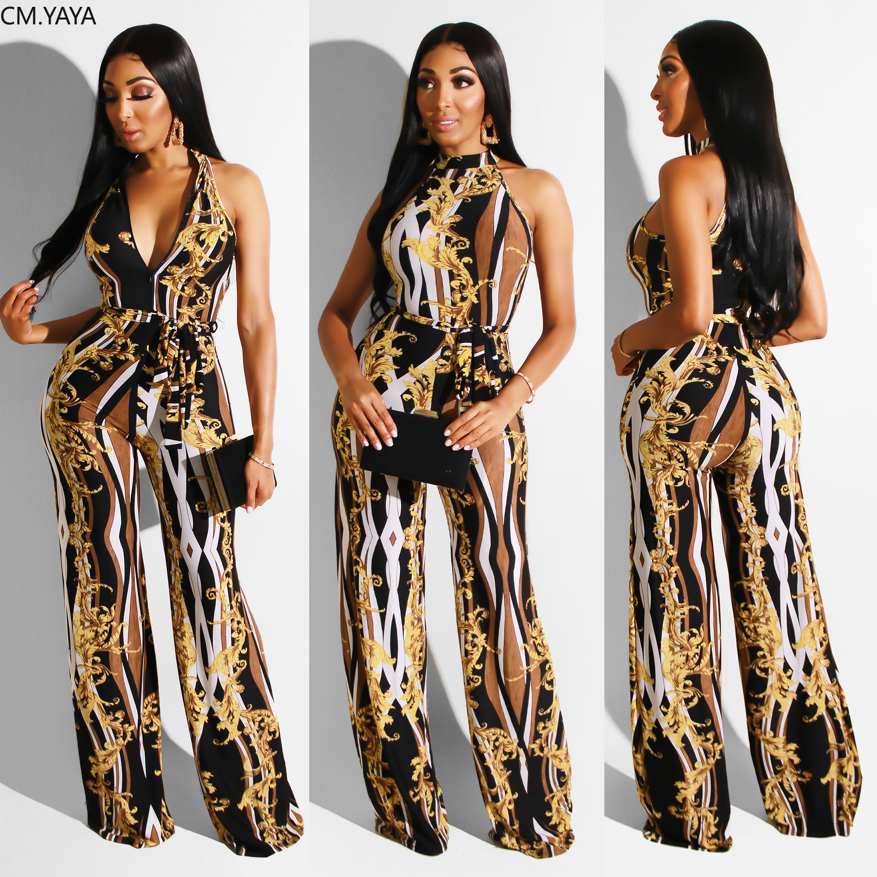 2019 frauen sommer kette vintage print ärmellose hohe taille overall nacht club party strampler strand streetwear overall GLR6216