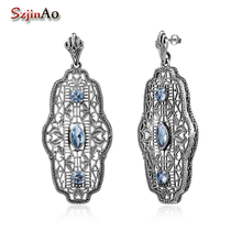 Szjinao Victoria Party Pattern Big Earrings Fashion For Women With 3ct Aquamarine Piercing Earrings Studs Vintage Fine Jewelry