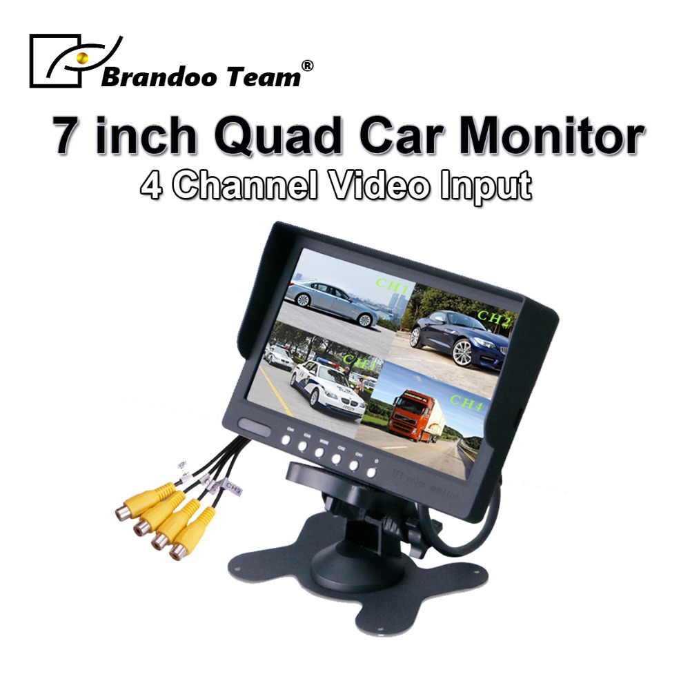 High quality 7 inch quad type car monitor support 4 channel input
