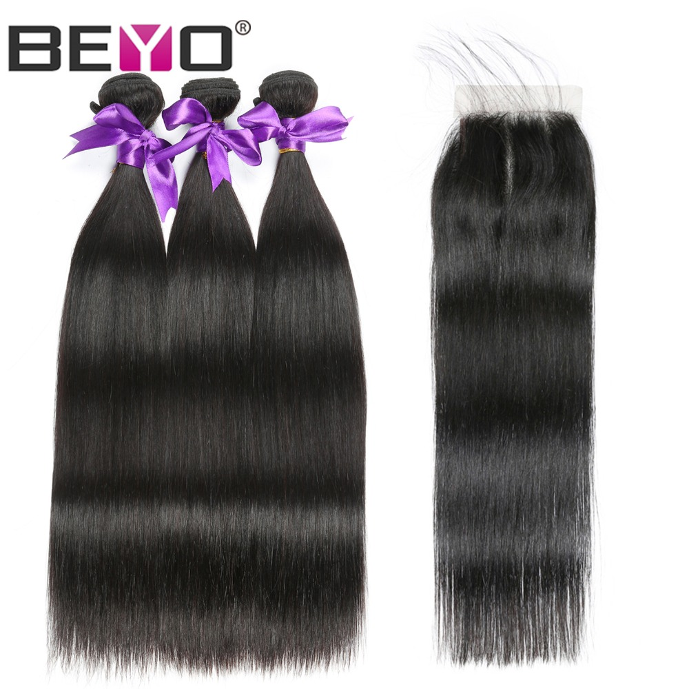 Beyo Malaysian Straight Human Hair Bundles With Lace Closure 1B Natural Black 3 Bundles With Closure 4x4 Non Remy Hair Extension
